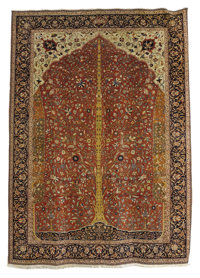 An Antique Tabriz Rug  Northwest Persia Circa 1900 Wool, silk 161.8 inches x 118.5 inches  Signed: Hadj Jalili. Woven