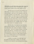 Autographs:Celebrities, [John F. Kennedy] Typed Manuscript Giving an Account of JFK's LastRites Signed by Reverend Oscar L. Huber, the Priest Who Adm...