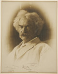 "Autographs:Authors, Samuel Clemens Photo Signed ""Mark Twain"". 9"" x 11.25"" (sight), July 17, 1909, n.p. Elegant studio portrait of Tw..."
