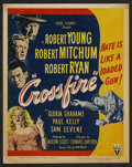 "Movie Posters:Film Noir, Crossfire (RKO, 1947). Window Card (14"" X 18""). Film Noir.. ..."