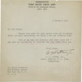 """Autographs:Military Figures, George S. Patton Typed Letter Signed as Lt. General, U.S. Army, Commanding the Third Army. One page, 6.5"""" x 6.5"""", October 4,..."""