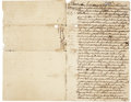 """Autographs:Celebrities, Slave Document, Last Will and Testament of Thomas Sovell. Writtenon page one and two of the four integral pages, 7.5"""" x 11...."""