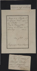 Miscellaneous:Ephemera, [Marquis De Lafayette] Dinner Invitation Issued to Elias HasketDerby. Partly-printed document completed in manuscript, one ...