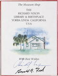"Autographs:U.S. Presidents, Richard Nixon and Gerald Ford Signed Bookplate, 3.5"" x 4.5"". Itreads, ""The Museum Shop / The / Richard Nixon / Library &..."