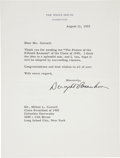 """Autographs:U.S. Presidents, Dwight Eisenhower Typed Letter Signed. One page, 6.75"""" x 9"""", August11, 1955, Washington, D. C., on White House stationery...."""