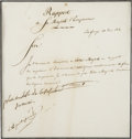 "Autographs:Non-American, Napoleon Bonaparte Document Annotated and Signed, ""Nap"". Onepage, 7.75"" x 8.25"" (sight), June 23, 1814, Portofe..."