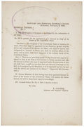 Autographs:Military Figures, [Robert E. Lee] General Orders No. 3: Appointment of Robert E. Lee to General in Chief of the Armies of the Confederate States...