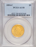 Liberty Half Eagles: , 1854-C $5 AU58 PCGS. PCGS Population (7/7). NGC Census: (18/14).Mintage: 39,200. Numismedia Wsl. Price for NGC/PCGS coin i...