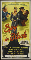 "Movie Posters:Thriller, The Spy in Black (Film Classics, R-1947). Three Sheet (41"" X 81""). Thriller.. ..."