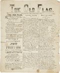 """Miscellaneous:Newspaper, Confederate Texas: The Old Flag Civil War Prison CampNewspaper. Four pages, 9.5"""" x 11.5"""", February 17, 1864, Ca..."""