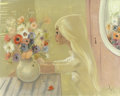 Mainstream Illustration, IGOR PANTUHOFF (Polish b. 1911). Girl with Vase of Flowers.Oil on canvas. 24 x 30 in.. Signed lower right. ...