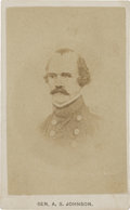 "Photography:CDVs, Albert Sidney Johnston, Carte de Visite, 2.5"" x 4"". Johnston, who saw extensive combat during his military career, f..."