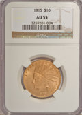 Indian Eagles: , 1915 $10 AU55 NGC. NGC Census: (55/2883). PCGS Population(137/2041). Mintage: 351,075. Numismedia Wsl. Price for NGC/PCGS...