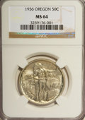 Commemorative Silver: , 1936 50C Oregon MS64 NGC. NGC Census: (241/1111). PCGS Population(627/1432). Mintage: 10,006. Numismedia Wsl. Price for NG...