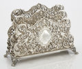 Silver Holloware, American:Desk Accessories, AN AMERICAN SILVER LETTER HOLDER. Maker unknown, circa 1920. Marks:STERLING, 1816. 6-1/2 x 9-1/4 x 3-1/2 inches (16.5 x...