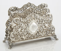 AN AMERICAN SILVER LETTER HOLDER Maker unknown, circa 1920 Marks: STERLING, 1816 6-1/2 x 9-1/4 x