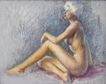Pin-up and Glamour Art, ZOE MOZERT (American 1904 - 1993). Nude, c. 1940. Pastel onpaper. 22 x 27.5 in.. Signed lower right. ...