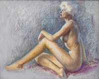 ZOE MOZERT (American 1904 - 1993) Nude, c. 1940 Pastel on paper 22 x 27.5 in. Signed lower rig