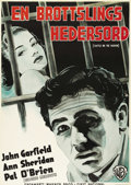 """Movie Posters:Crime, Castle on the Hudson (Warner Brothers, 1940). Swedish One Sheet(27.5"""" X 39.5"""").. ..."""