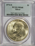 Eisenhower Dollars: , 1974-S $1 Silver MS68 PCGS. PCGS Population (845/3). NGC Census: (119/1). Mintage: 1,900,156. Numismedia Wsl. Price for NGC...