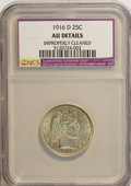 Barber Quarters: , 1916-D 25C --Improperly Cleaned--NCS. AU Details. NGC Census: (10/1101). PCGS Population (16/1673). Mintage: 6,540,800. Numi...