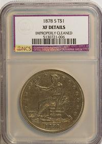1878-S T$1 --Improperly Cleaned--NCS. XF Details. NGC Census: (19/551). PCGS Population (39/701). Mintage: 4,162,000. Nu...