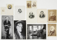 Lot of Twelve Author Photographs and Engravings, including cabinet cards of Longfellow and Ibsen. Color and black and