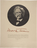 Miscellaneous:Ephemera, Barry Moser Signed Limited Mark Twain Broadside. Wood engraving. 20x 26 inches. Of a limited edition of 500 signed and ...