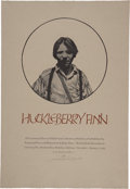 Miscellaneous:Ephemera, Barry Moser Signed and Inscribed Limited Huckleberry FinnBroadside. Wood engraving. 18 x 26.25 inches. Of a limitededition...