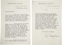 W. Somerset Maugham. Typed Letter Signed to John W. Rumsey, Maugham's American Theatrical Agent