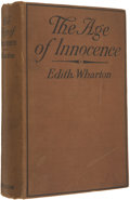 """Books:First Editions, Edith Wharton. The Age of Innocence. New York: D. Appleton, 1920.. First edition, first issue with """"Forasmuch""""..."""