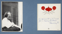 Flannery O'Connor. Christmas greeting card from Flannery O'Connor, Signed. [undated, circa 1960]