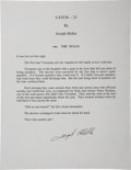 Autographs:Authors, Joseph Heller. The Texan. [From Catch-22]. [N.p.: n.d.]. Signed fair-copy typescript of one page...