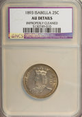 Commemorative Silver: , 1893 25C Isabella Quarter--Improperly Cleaned--NCS. AU Details. NGCCensus: (6/3105). PCGS Population (32/4242). Mintage: 2...