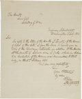 "Autographs:Military Figures, Robert E. Lee Autograph Letter Signed. One page, one-sided, 7.75"" x 9.5"", Washington, D.C., July 1, 1836. An engineer, a car..."