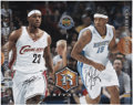 Basketball Collectibles:Others, LeBron James And Carmelo Anthony Dual Signed Oversized Photo....