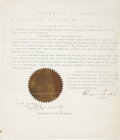 Autographs:Statesmen, Eugene Semple Typed Proclamation Signed Designating Thanksgiving1888 in Washington Territory. One page with docketing on th...