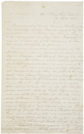 """Autographs:Military Figures, Civil War Marines: Report on the Attack of a Confederate Schooner. Two pages, two-sided, 8"""" x 12.5"""", """"U.S. Flag Ship Color..."""