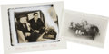 Photography:Cabinet Photos, Thomas Alva Edison, Two Photographic Images. The smaller is a laterprint of a young Edison, slouched in a chair, listening ... (Total:2 Items)