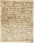 "Autographs:Statesmen, [Pennamite-Yankee War] Timothy Pickering Autograph Letter Signed""T. Pickering"" as Pennsylvania militia colonel. Fou..."