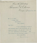 """Autographs:Inventors, Thomas A. Edison Typed Letter Signed on his laboratory letterheadtrimmed to 7.25"""" x 8.5"""", Orange, N. J., March 6, 1913...."""