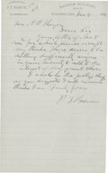 "Autographs:Celebrities, Phineas T. Barnum Autograph Letter Signed ""P.T. Barnum"" onhis office letterhead. One page, 5.5"" x 8.75"", Bridgeport, Co..."