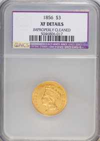 1856 $3 --Improperly Cleaned--NCS. XF Details. NGC Census: (13/594). PCGS Population (11/404). Mintage: 26,010. Numismed...