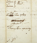 "Autographs:Statesmen, John Penn Autograph Docket Signed ""J. P."" on verso. Onepage, 7.5"" x 3"", May 5, 1783, Granville County, North Carolina. ..."