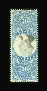 #R117a, 1871, 70c Blue & Black. (Used)