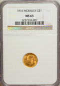 Commemorative Gold: , 1916 G$1 McKinley MS65 NGC. NGC Census: (428/395). PCGS Population(898/638). Mintage: 9,977. Numismedia Wsl. Price for NGC...