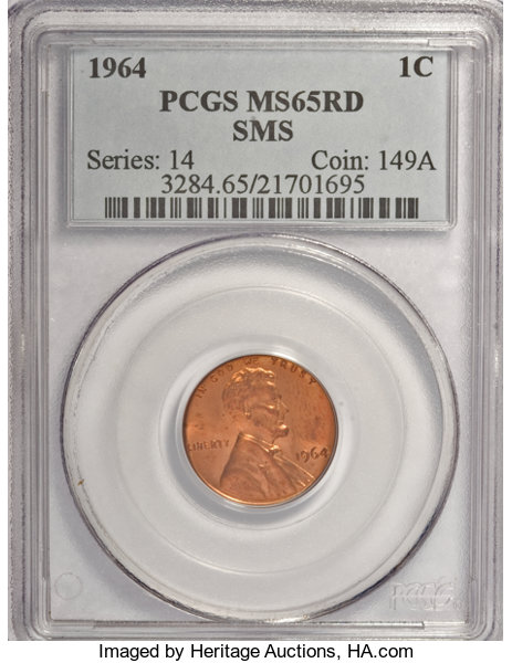 1964 1C SMS MS65 Red PCGS     SMS Lincoln Cents | Lot #1295