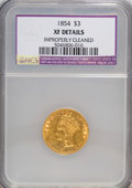 Three Dollar Gold Pieces: , 1854 $3 --Improperly Cleaned--NCS. XF Details. NGC Census: (54/3069). PCGS Population (70/2209). Mintage: 138,618. Numismedi...