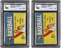 Baseball Cards:Other, 1955 Bowman Baseball Unopened 5-Cent Wax Pack Pair (2). ...