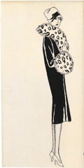 Pin-up and Glamour Art, GEORGES BARBIER (French 1882 - 1935). La Vie Parisienne fashionillustration. Ink on paper. 5.25 x 2.5 in.. Not signed...